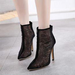 Wholesale Ankle Bootie Heels - DiJiGirls Hot sale Spring Autumn Women fashion Pumps Ankle Boots Breathable Cut Out Mesh Gauze Bootie High Heel Sandals Flower Shoes