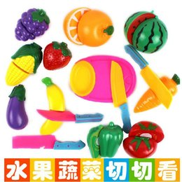 Wholesale Magnetic Fruits Vegetables - Cheap gift wrapping a book Lovely Cutting Fruit Vegetable House Play Toy Children Pretend Play Toys Mini Kitchen Model Toys Plastic Children