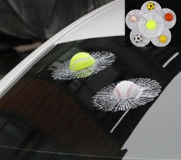 Wholesale Decal Auto - Hot sale 3D Car Stickers Ball Hits Car Body Window Sticker Self Adhesive Baseball Tennis Decal Accessories Funny Auto Car Styling