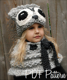 Wholesale Big Boy Hats - 2017 Winter New warm kids hats & Scarves 2-9 children thick knitted hats Snow hat with big Shawl 4 colors animal shape wool cap