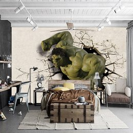 Wholesale fiberglass wall insulation - 3D Stereo Walls Large Wall Paintings Living Room Sofa TV Background Wallpaper Avenger Alliance Theme Hulk