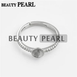 Wholesale Wholesale Silver Ring Blanks - Bulk of 3 Pieces Pearl Ring Semi Mount Findings 925 Sterling Silver Zircon Ring Blank Base