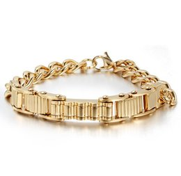 Wholesale Bicycles Vintage Style - New Style Vintage IP Gold Plating Stainless Steel Bicycle Chain Bracelet For Men