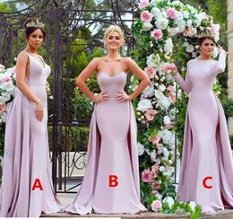Wholesale Blue Mermaid Strapless Wedding Dress - 2017 Sexy Strapless Stylish Lace Appliqued Long Bridesmaid Dresses Pink Soft Satin Long Sleeve Wedding Guest Dress Maid Of The Honour Gowns