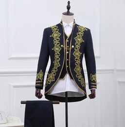 Wholesale Opera Settings - Wholesale- 3 pieces suit sets Men's fashion slim palace suit formal dress Black gold embroidery suit sets Opera suits stage costumes !