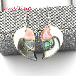Wholesale Pink Popcorn - Natural Abalone Shell Popcorn Drop Earrings Horse Eye Heart Oval Fashion Charms Jewelry For Women musiling Jewelry