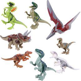 Wholesale Dinosaurs Puppets - 8pcs Set Jurassic Dinosaur Figures Model Bricks Mini Figures Building Blocks Toys Kids 3 Years Up Animal Toy Puppets Assembly Gifts Child