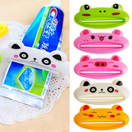 Wholesale Toothpaste Tube Holders - Wholesale- NEW Bathroom Tube Rolling Holder Squeezer Easy Cartoon Toothpaste Dispenser ABS