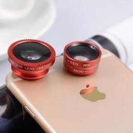 Wholesale Macro Lens Cameras - Fisheye Lens Wide Angle Lens 180 Degree Macro Phone Lens 3 in 1 Universal Clip Selfle Camera for iPhone 7 8 Samsung s8 s8 plus