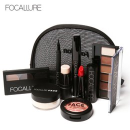 Wholesale Makup Bag - Wholesale-FOCALLURE Makup Tool Kit 8 PCS Must Have Cosmetics Including Eyeshadow Lipstick With Makeup Bag
