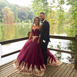 Wholesale Mini Quinceanera Dresses - Gold Lace Appliques Quinceanera Prom Dresses Sweetheart Burgundy Tulle Ball Gown Debutante Gowns Sweet 16 Dress
