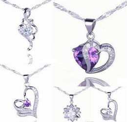 Wholesale Solid Silver Sterling Heart Necklace - Solid 925 Silver Love Pendant Amethyst Crystal Charm Fit Necklace Jewelry 18 Colors