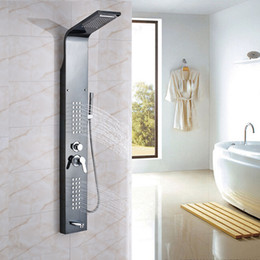 Wholesale Tap Waterfall Spout - Wholesale and Retail Elegant Spout Waterfall Shower Column Panel With Hand Shower Mixer Spout Tap Stainless Steel Massage Jets