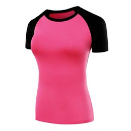 Wholesale Spandex Girl Clothes - New Arrive Yoga Shirt Women Compression Sport TShirt Polyester Short Sleeves Gym Tank Tops Girls Fitness Running Gym Wear Yoga Clothes F823