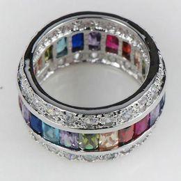 Wholesale Kunzite Rings Sterling Silver - ring bracket Morganite Blue Simulated Topaz Garnet Amethyst Pink Kunzite Simulated Aquamarine 925 Sterling Silver Ring size 6 7 8 9 10 11