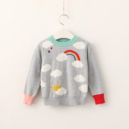 Wholesale Patchwork Blouses - Everweekend Cute Girls Boys Rainbow Cloud Knitted Sweater Tops Candy Color Patchwork Blue and Gray Color Autumn Spring Blouse