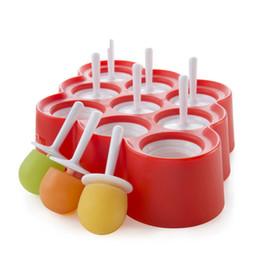 Wholesale Lollipops Molds - Mini 9 Cells Pop Ice Cream Maker Silicone Lollipop Cream Molds DIY Ice Pops Maker Frozen Popsicle Mould for Children Kids