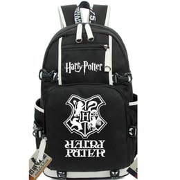 Wholesale harry potter black - Harry Potter backpack College school bag Institute badge daypack Cartoon schoolbag Outdoor rucksack Sport day pack