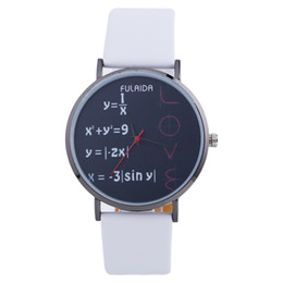 Wholesale Wrist Watch Love - Fashion mathematical formula students watch 2017 new wholesale mens women leather love dress casual quartz party wrist watch