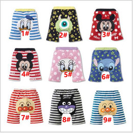 Wholesale Baby Bread Pants - baby kids PP striped pants Children cartoon bread 0-2 year old shorts Mickey and Minne cartoon children pants