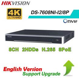 Wholesale Camera 8ch - original Hikvision english DS-7608NI-I2 8P Plug&Play NVR 8ch 8 PoE 4K HDMI Support 12MP IP Camera
