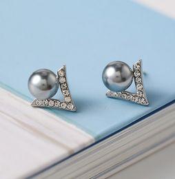 Wholesale 8mm Pearl Earring Woman - New Women Fashion Stud Earrings 925 Sterling Silver Zircon V Type 8MM White Gray Pearl Stud Earrrings For Wedding Party Gifts DY