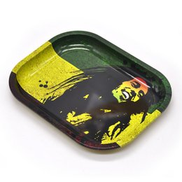 Wholesale Plate Rolling Machines - Rolling Party Tray Bob Marley Metal Tobacco Plates Travel Size 18Cm*14Cm Roll Trays Machine Tools Mini Metal Tray