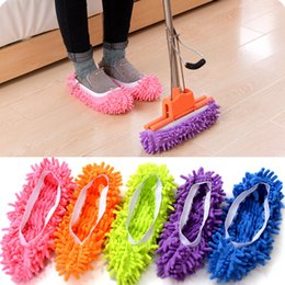 Wholesale Chenille Lazy Mopping Shoes Cover Dust Mop Slippers House Cleaner Lazy Floor Dusting Cleaning Foot Shoe Cover