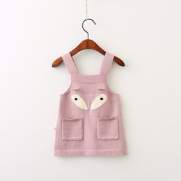 Wholesale Sweater Korean Girl - Everweekend Girls Fox Pocket Sweater Halter Dress Lovely Kids Candy Color Clothes Sweet Baby Korean Fashion Autumn Clothing