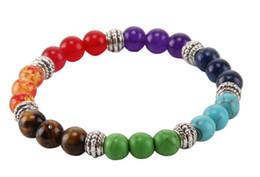 Wholesale Colorful Stone Bracelets - New Fashion Unisex Colorful Crystal Chakra Lava Rock Stone Reiki Amethyst Bead Bracelet Bangle Jewelry Gift