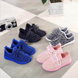 Wholesale Antiskid Shoes - Cheap Baby Antiskid Athletic Shoes Kids Kanye West 350 Boost Running Shoes Black Pink Blue White Boys Girls Casual Shoes Size 21-35