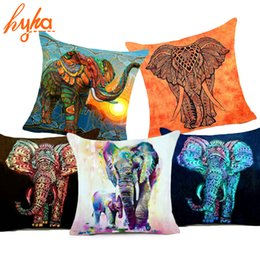 Wholesale Luxury Fabric Sofas - Bohemia Elephant Polyester Cushion Cover Indian Style 45x45cm Affection Animal Home Decorative Pillow Cover for Sofa Luxury