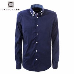 Wholesale Clothing Men Eu - Wholesale- CITY CLASS 2016 men dress eu size business shirts formal office brand clothing camisa masculina pure colar white blue 2971
