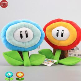 Wholesale Mario Plush Fire Flower - New Super Mario Fire Flower Red Flame with Ice Sunflowers Plush Doll Peluche Baby Toys 17cm Anime Brinquedos Kids Gift