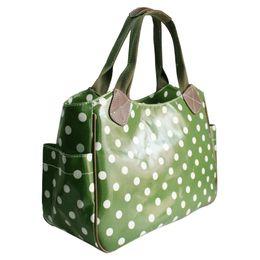 Wholesale Handbag Marketing - Wholesale- Miss Lulu Women Girls Polka Dots Handbag Shoulder Tote Market Day Shopper Hand Bag Waterproof Oilcloth Material 1105