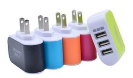 Wholesale Dock Lights - 2017 NEW LED Light Triple 3USB ports 3.1A USB AC US EU candy color wall charger home plug for samsung s6edge plus for iphone 6 plus 6s