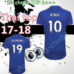 Wholesale Man City Away - In stock Best Thai quality 2017 2018 Leicester City soccer jersey 17 18 VARDY MAHREZ home away football shirt HUTM KING uniforms