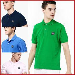 Wholesale Men Wearing Purple Shirts - Famous Brand Polo Shirt Solid Cotton Men Stone Short Sleeve Island POLO Shirt Summer Wear Lapel Tees Freeshipping