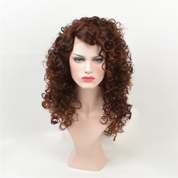 Wholesale Long Dark Brown Hair Curled - foAfrican American fashion wig Fashion hair wigs lace front wigs Dark brown curls lace front wigs long Curlyhair kabell wig Free freight