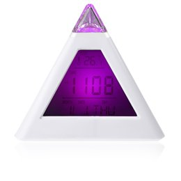 Wholesale Color Change Digital Table Clock - Desktop Table Clocks Despertador Weather Station Single 7 LED Color Changing Pyramid Digital LCD Alarm Clock Thermometer C F