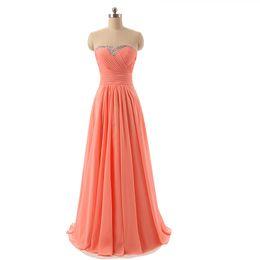 Wholesale Dresses Peach Chiffon - robe demoiselle d'honneur2018 new chiffon crystal Aline peach bridesmaid dresses real photo vestido madrinha casamento longo