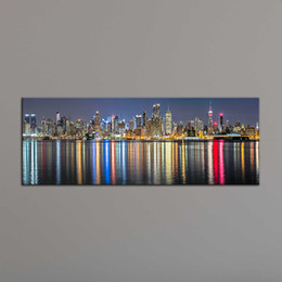 Wholesale View Landscape - Home Decoration Painting Wall Art Prints of New York City Night View Panoramic Canvas Printed Picture for Living Room Dropship Wholesale