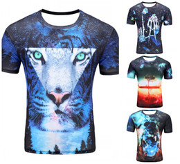 Wholesale pizza toppings - Wholesale- 2017 Newest galaxy space printed creative cat 3d t shirt men's thinkers novelty pizza cat tree 3D tee tops clothes dropshipping