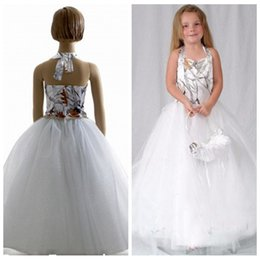 Wholesale Beautiful Girl Skirt Long - Halter Snowfall White Camo Beautiful Flower Girl Dresses Long Tulle Skirt Formal Kids Vestidos De Party Gowns Cheap Toddlers Camouflage