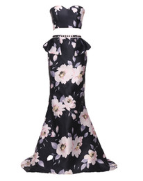 Wholesale Chinese Formal Short Dresses - 2017 Fashion New Chinese Printing Celebrity Party Dresses Two Pieces Prom Dresses Sheer Backless Floor Length Evening Formal Gowns
