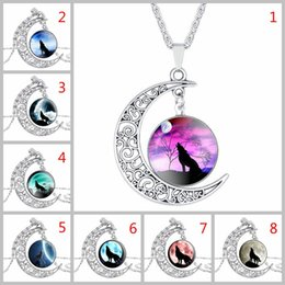 Wholesale Wolf Totem Pendant - Wolf Totem Necklace Crescent Moon Hollow Carved Necklace with Multicolor Time Gem Cabochon Pendant By Hcish Jewelry H0591