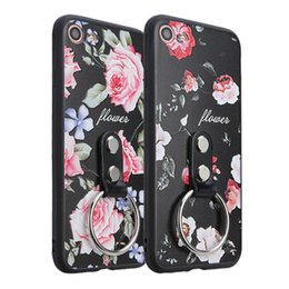 Wholesale Mobile Phone Flower Case - Luxury Ring Bracket Flower Relief Design Mobile Phone Case For Apple iPhone 6sPlus 7 6 Plus Ring Holder TPU PC Phone Case For iPhone 6Plus 7