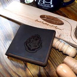 Wholesale Brand Badge Holders - Vintage Harry Potter Letter Wallet Laser Engraving Hogwarts School Badge Men Wallets Card Holder Brand Purse Bag Wallet Male