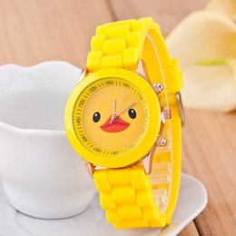 Wholesale Silicone Duck - 2017 Hot Children Kid Watch Yellow Duck Watch For Boy Girl Student Silicone Wrist Watch Gift