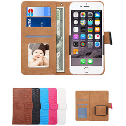 Wholesale Mobile Covers Printing - Universal Wallet PU Flip Leather Case crocodile print Rotating Phone Cover For 4.8 5.3 5.5 6.0 inch for Mobile Phone iPhone Samsung huawei